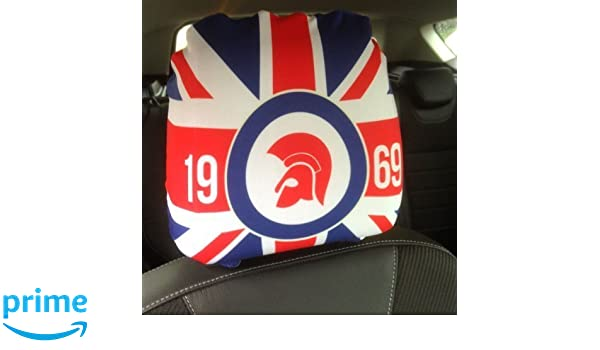 CAR SEAT HEAD REST COVERS 2 PACK TROJAN UNION JACK RED BLUE DESIGN MADE IN YORKSHIRE Amazoncouk Kitchen Home
