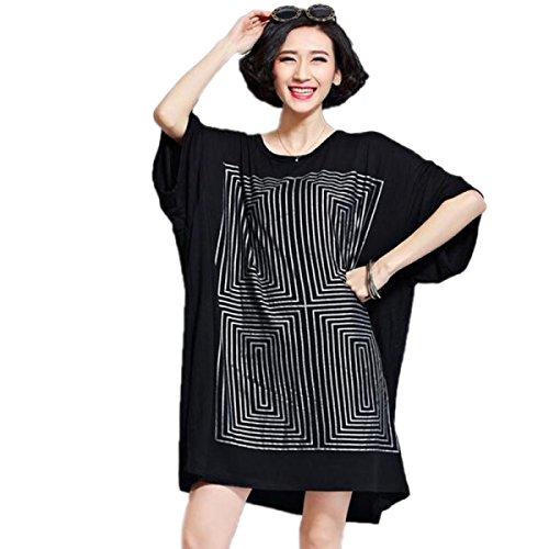 HGDRSpring Und Sommer Frauen Große Größe Lose Art Und Weise Kleid Black