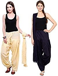 Green World Products : Patiala Salwars And Dupatta Set Combo (Free Size,Cream & Navy Blue Colour By Green World...