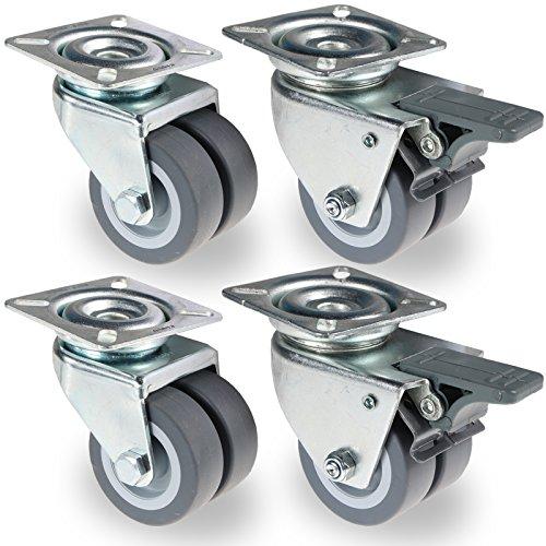 PRIOstahl® 4 St Apparaterolle | STRANDKORBROLLEN | Doppelrollen | Lenkrolle mit Bremse | Lenkrolle | 50mm | grau