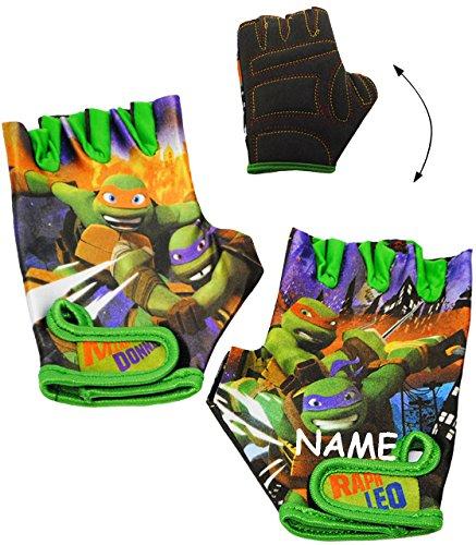 Unbekannt Fahrradhandschuhe -  Teenage Mutant Ninja Turtles  - incl. Name - abgepolstert - 4 bis 6 Jahre - universal auch für Roller Dreirad Laufrad / Kinderfahrrad K..