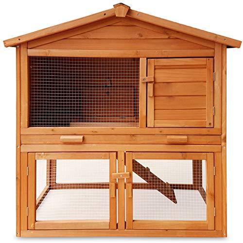 Zooprimus conigliera in legno di alta qualità pratica comoda con zona chiusa e zona aperta Cassetto per sterco a base metallica Misure 101,5 x 54,7 x 100 Mucky 030