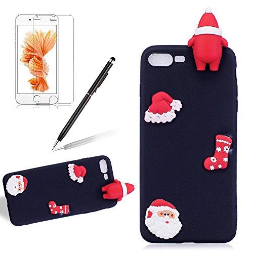 Girlyard Custodia per Apple iPhone 7 Plus / 8 Plus Antiurto - Cover in Silicone TPU - Back Case Protettiva Posteriore per Cellulare Babbo Natale Nero Babbo Natale Nero