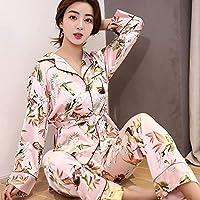 YTNGA Pijamas De Mujer Pijamas demanga Larga para mujeresRopa de Dormir de satén Salón con cinturón, Rosa, M