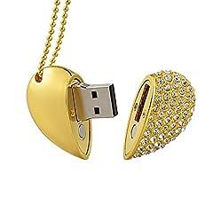 Idea Regalo - MAXINDA Gioielli Cuore Chiavetta USB 32 GB 2.0 di Metallo Memoria usb con Cordino e Sacchetto di Velluto (D'oro Cuore)