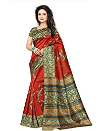 Ishin Poly Silk/ Blended Mysore Silk Red Kalamkari Printed Women's Saree/Sari