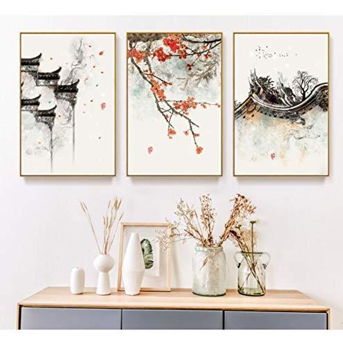 Chaoaihekele Neue Chinesische Tinte Blumen Drucken Bild Dekorative Malerei Modulare Bild Wandkunst Leinwand Malerei Für Wohnzimmer Kein Gestaltet 40X60Cmx3Pcs