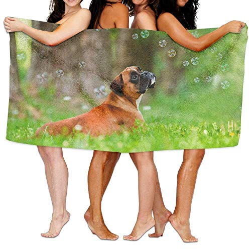 Duyhat Beach Pool Custom Bath Towels Soft Boxer Dog Bubble Super Absorbent Microfiber (Super Bubble Bath)