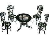 Unbekannt Set :  Gartenmöbel  - 4 Stühle und 1 Tisch Metall - Maßstab 1:12 - Möbel Set Nostalgie grün Miniatur - Puppenstube / Puppenhaus - Puppenstuben Zubehör - Gar..