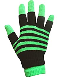 Boys & Girls Unisex Neon Stripes Magic 2 in 1 Winter Gloves with Fingerless Gloves