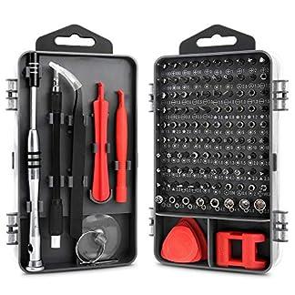 112 en 1 Destornilladores de precisión – Juego de destornilladores profesional con 90 puntas magnéticas para tornillos y 21 componentes – kit de herramientas profesional y domestico para reparación