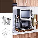 Küchenmöbel-WXP Edelstahl Küche Mikrowelle Ofen Regal Backofen Rack Gewürz Incorporated Regal 2 Layer Pot Rack WXP-Küchenschränke und Besteckschränke