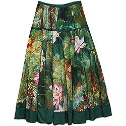 Feoya Étnico Falda Larga Casual Estampado Floral Bohemia Maxi Skirt para Verano Playa Viaje para Mujeres, Loto