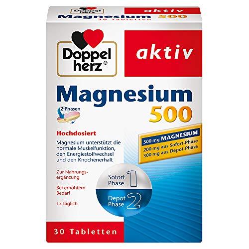 Doppelherz Magnesium 500 2-Phasen - Hochdosiertes Magnesium zur Unterstützung der normalen Muskelfunktion - Mit praktischem 2-Phasen-System - 1 x 30 Tabletten