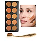DiChi 10 Farbe Concealer Contouring Palette mit Oval Makeup Pinsel (Golden)