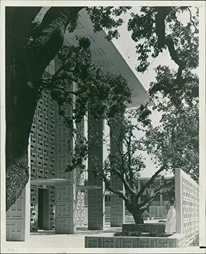 Vintage Photo of The Tree-Shaded Entrance to The Palo Alto Wing of The Stanford Hospital.