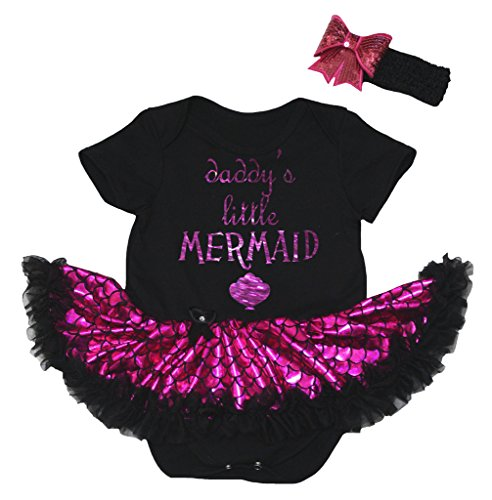 Petitebelle Baby's Little Mermaid Black Bodysuit Hot Pink Scale Tutu Nb-18m (0-3 (Little Mermaid Baby Kostüme)