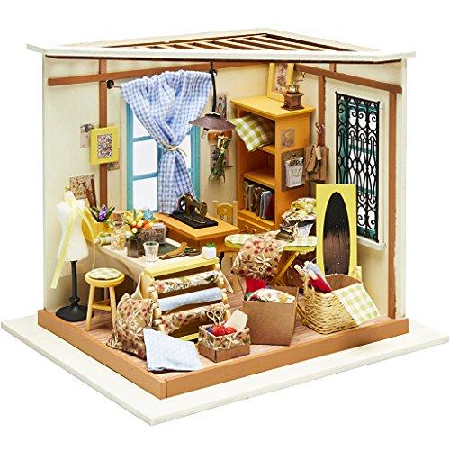 DIY Miniaturzimmer, Nähzimmer, H 19 cm, B 22,5 cm, 1 Stück, Tiefe 18,5 cm -