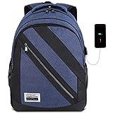 YAMTION Herren Laptop Rucksack mit 15,6 Zoll Laptopfach und USB-Ladeanschluss für Business Schulrucksack Jungen Teenager