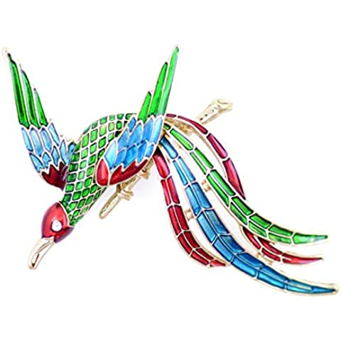 Lizzyoftheflowers. Art Deco stile oro Tone smalto Borsa Phoenix Uccello Spilla Pin