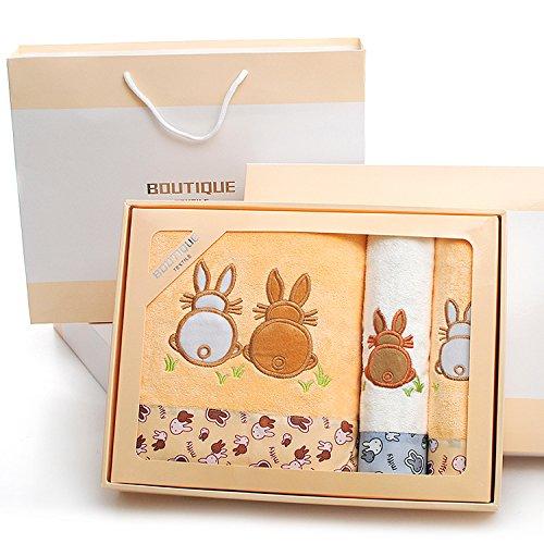ZHFC handtuch, handtuch geschenk - box drei stück geschenk company arbeitnehmer gruppe kauf hochzeit rückkehr 74 * 33cm,Das graue kaninchen koffein - karte
