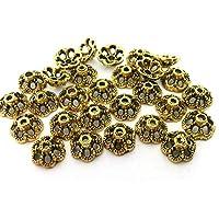 30 Perlkappen Endkappen Perlenkappen Blume Farbe bronze für 12mm Perlen #S518