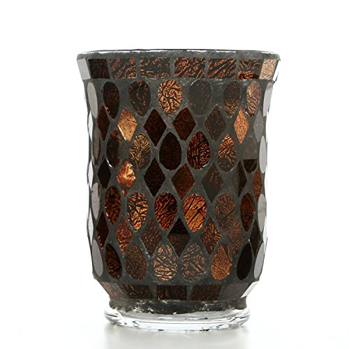 "Hosley Mosaic Glass Hurricane Candle Holder- 5"" High. Wonderful Accent Piece for Coffee or Side Tables. Ideal Gift for Weddings, Home, Events P2"