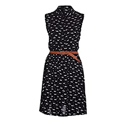 Dress Skirt Longra® Summer Women Simple Little Dog Pattern Print Casual Short Mini Dress (1PC Dress+1PC Belt)
