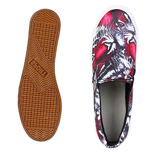 Modische Damen Sneakers | Bequeme Slip-ons| Funkelnde Glitzerapplikationen | Angesagte Plateausohle | Gr. 36-41 Rot Tiger