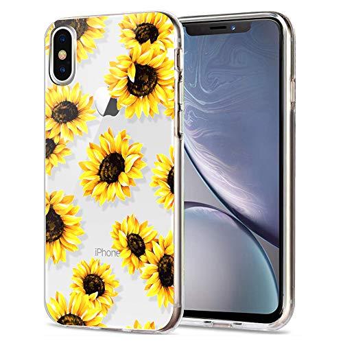 Schutzhülle für iPhone XR, süßes Aikin, einfach entworfenes Blumenmuster, ultradünn, weiches TPU, flexibel, stoßfest, niedliches Design, kompatibel mit Apple iPhone XR 6,1 Zoll, Sunflower/Clear