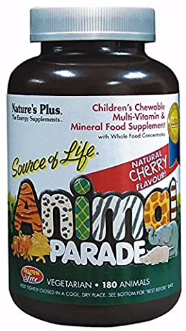 Nature's Plus - Animal Parade Children's à macher Multivitamines et Mineraux Cerise 180 à macher