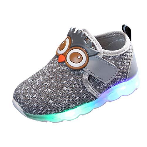 BoyYang Kinder Schuhe Sportschuhe Karikatur LED Leuchtende Mesh Atmungsaktiv Laufschuhe Outdoor Sneaker Turnschuhe Klettverschluss Wanderschuhe Hallenschuhe für Baby Jungen Mädchen Kinder (15,Grau)