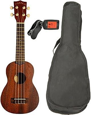 Makala MK-S ukelele Soprano con cuerdas Aquila ajustable (con bolsa de transporte y afinador cromático de clip On