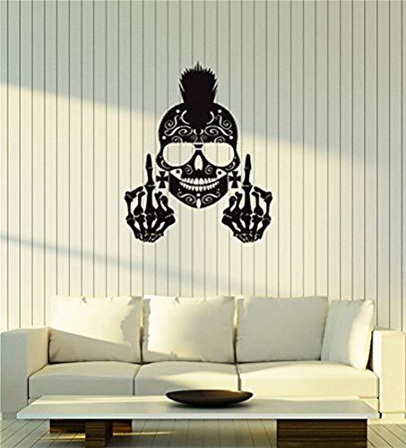 wandaufkleber graffiti Große Vinyl Wall Decal Schädel Punk Skelett Mittelfinger Dekor Art Aufkleber Wandbild -