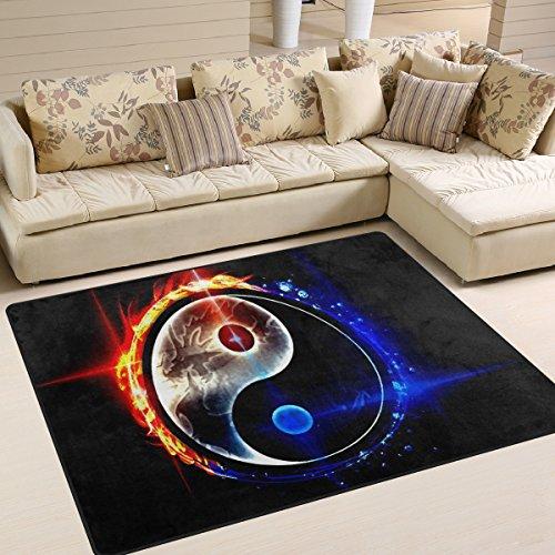 Chinesische Teppich (INGBAGS Teppich im Design: Chinesischer Drache Tai Bagua, Ying Yang, modern, superweich, für Wohnzimmer, Schlafzimmer, Kinderspielzimmer, dekorativer Teppich, 160 x 122cm, multi, 80 x 58 Inch)