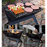 HOME BUY Stainless Steel Barbeque Charcoal Grill Foldable Crystal Plate Oven Portable Briefcase Note Book Size (Black)