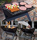 Stainless Steel Barbeque Charcoal Grill Foldable Crystal Plate Oven Portable Briefcase Note Book