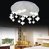 LED Deckenleuchte Pilz Form Rund Design Deckenlampe Modern Kreativ Kunst Kronleuchter für Wohnzimmer Esszimmer Schlafzimmer Arbeitszimmer Kinderzimmer Beleuchtung Leuchte Eisen Acryl Lampe 48W (Warm Licht)