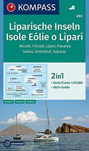 Liparische Inseln, Isole Eólie o Lìpari, Alicudi, Filicudi, Lìpari, Panarea, Salina, Strómboli, Vulcano: 2in1 Wanderkarte 1:25000 ... 1:25 000 (KOMPASS-Wanderkarten, Band 693) ()