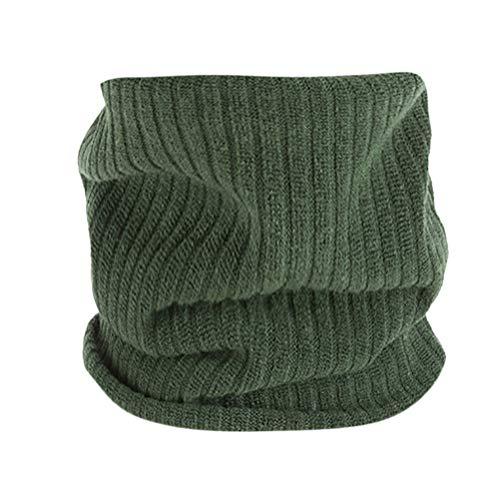 MYMYG Unisex Warme Strick Kutte Hals Mohair Weiche Winter Warme Baumwolle Schals Kragen Winter Wärmer Elastischer Pelz Ring Cowl Schal(C3-Grün,Freie Größe) ()