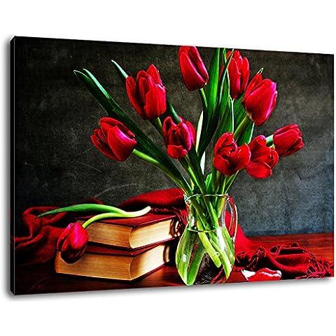 tulipes rouges dans un vase dans la peinture cm taille de la table 120x80 sur toile, XXL énormes Photos complètement encadrées avec civière, le mur cadre photo de feuille