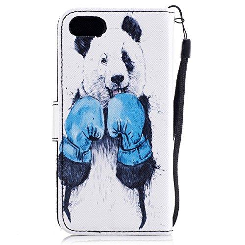 Housse de téléphone pour [iPhone 7] Cover,Etsue - Coque Folio Smart Portefeuille en Cuir Case Coque Etui pour iPhone 7,Élégant/Blle/ Coloré Mode Motif PU Leather Coque Stéréoscopique Fonction Stand Ca Charmant Panda