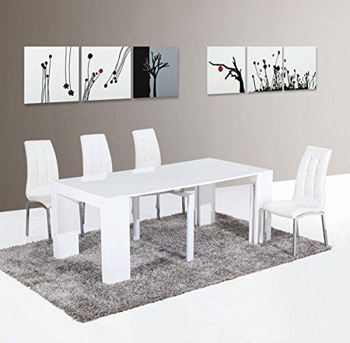 Tavolo legno nobilitato consolle allungabile fino a 3 mt bianco lucido laccato