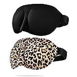 CONISY Antifaz para Dormir 3D Contorneado Suave Cómoda Sleeping eye mask - 2 pcs (leopardo y Negro)