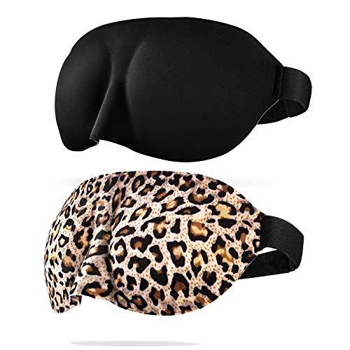 CONISY Schlafmaske Damen 3D Konturierte Weich Bequem Sleeping eye mask Für frauen und Herren - 2 Pack augenmaske (Leopard und Schwarz)
