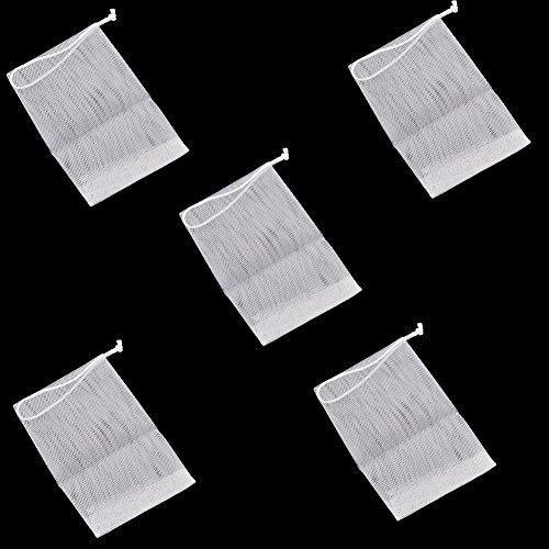 LAAT 5 Stück Seifennetz Seifensparer Seifenrestebeutel Seifenbeutel eifenschwamm Seifennetz Seifensäckchen aus transparentem Nylon Verwenden Sie beim Baden