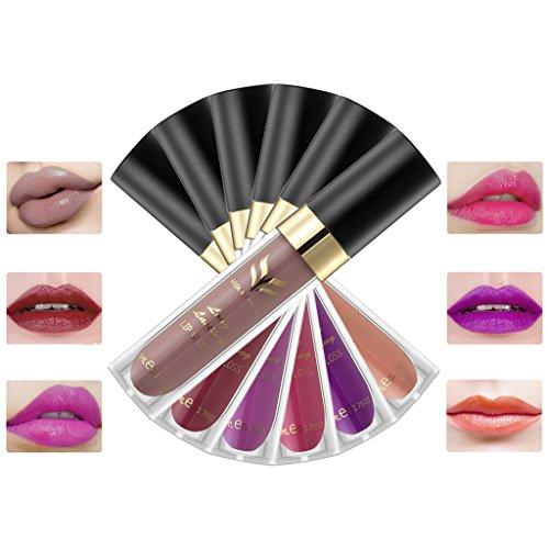 6pcs/Lot 6 Couleurs Maquillage Lip Gloss Velours Mat Brillant Maquillage Rouge à Lèvres Crème 7#8#9#10#11#12#