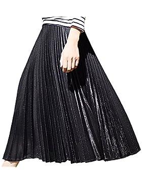 Mujer Alta Cintura Cintura Elástico Larga Faldas Elegante Plisadas Pliegues  Falda Plisada ee146be1daf4