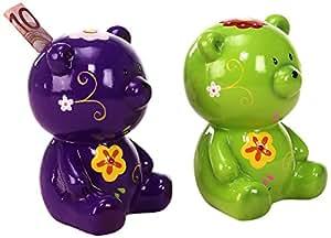 Sunny Toys 14870 Tirelire Motif ours avec serrure En céramique Vert/mauve Env. 15cm