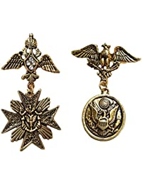 B-fashionable Metal Combo of Flying Eagle and Angelic Brooch for Men and Women(Gold)